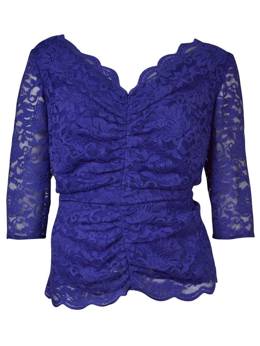 Alex Evenings Women's Scalloped Lace Ruched Blouse
