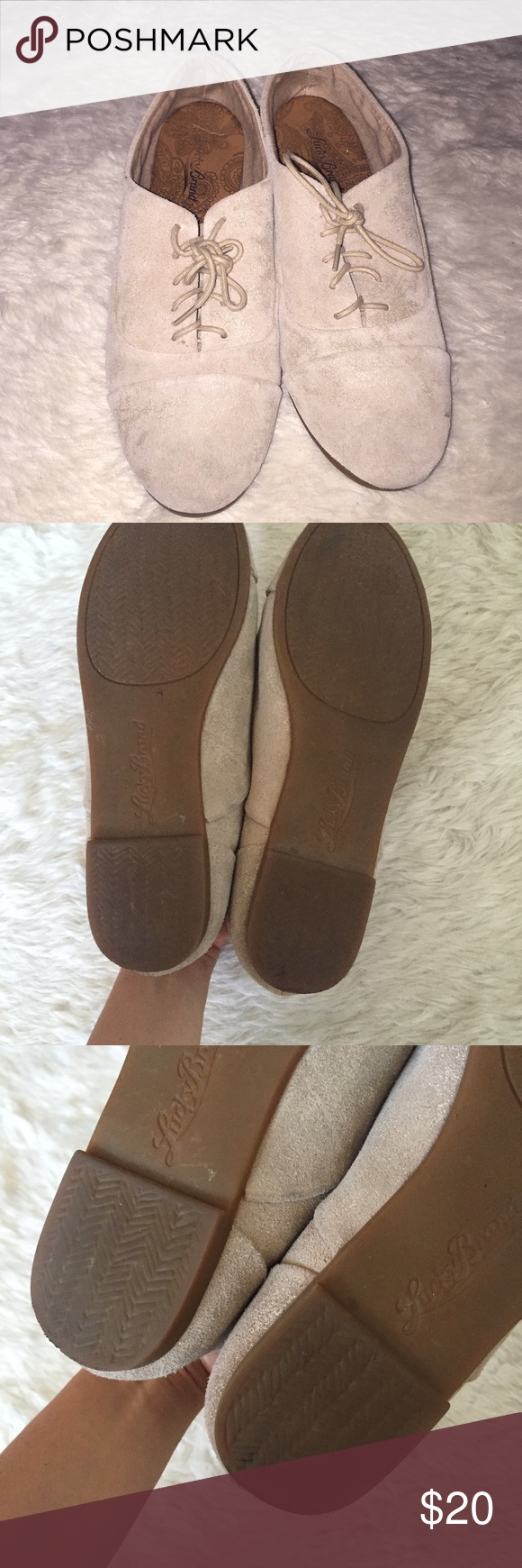 Lucky brand suede shoes Cool toned cream suede shoes, like new , hardly worn, very comfortable and classic. Lucky Brand Shoes