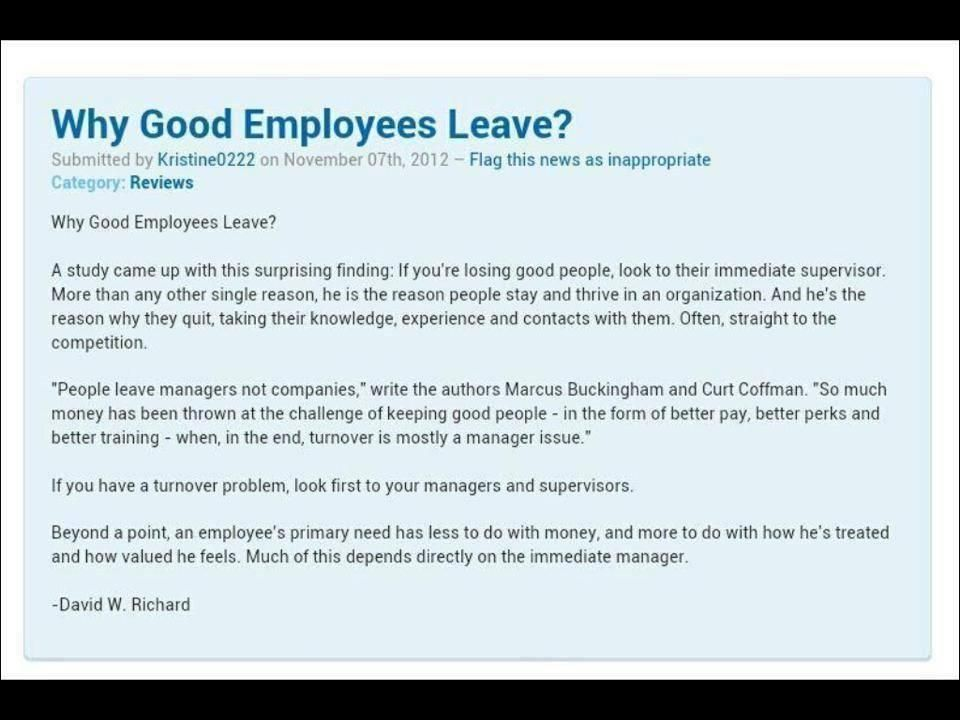 Why Good Employees Leave  Management WwwLasanigroupCom