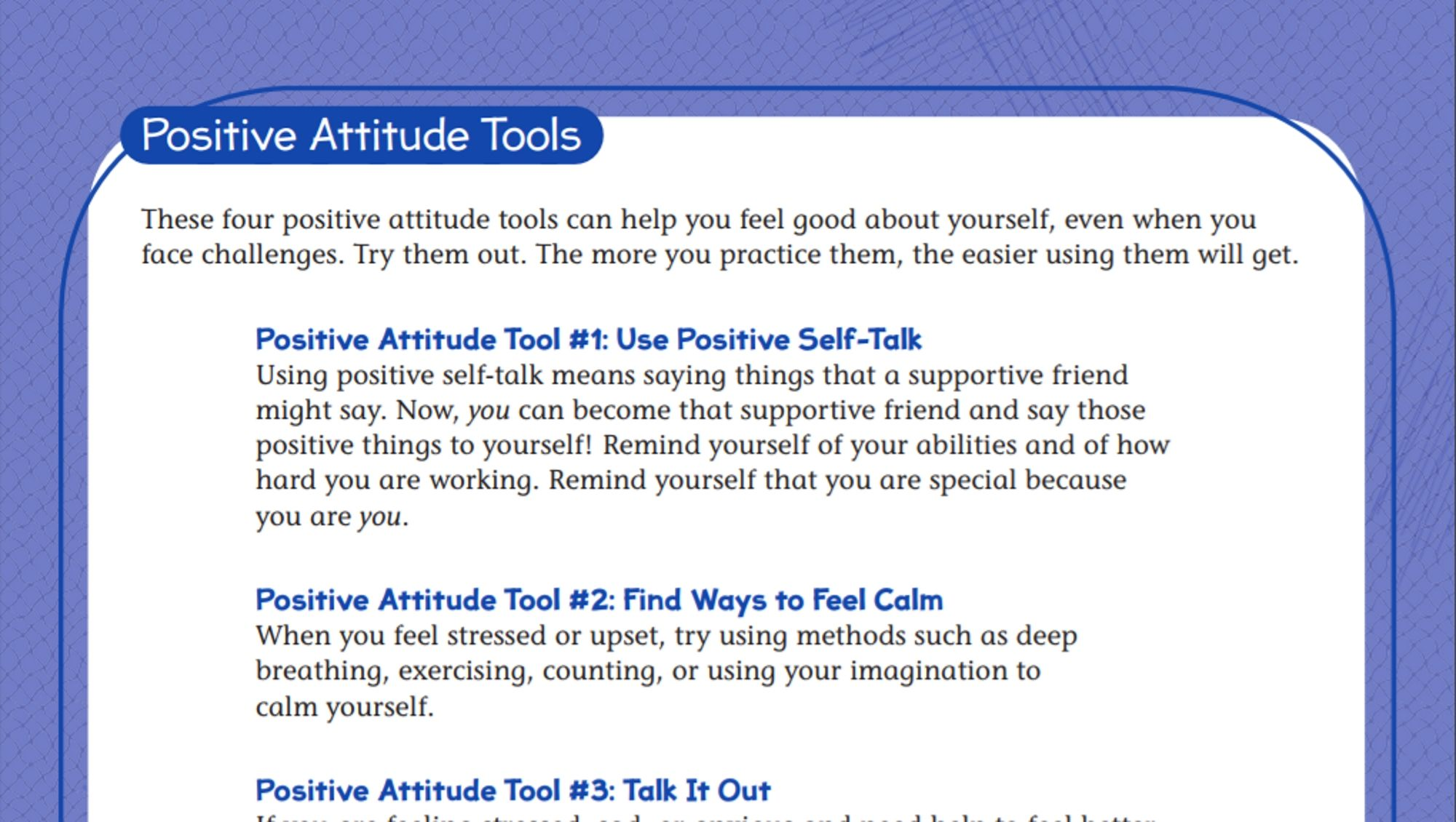 Tools For A Positive Attitude Student Worksheet With