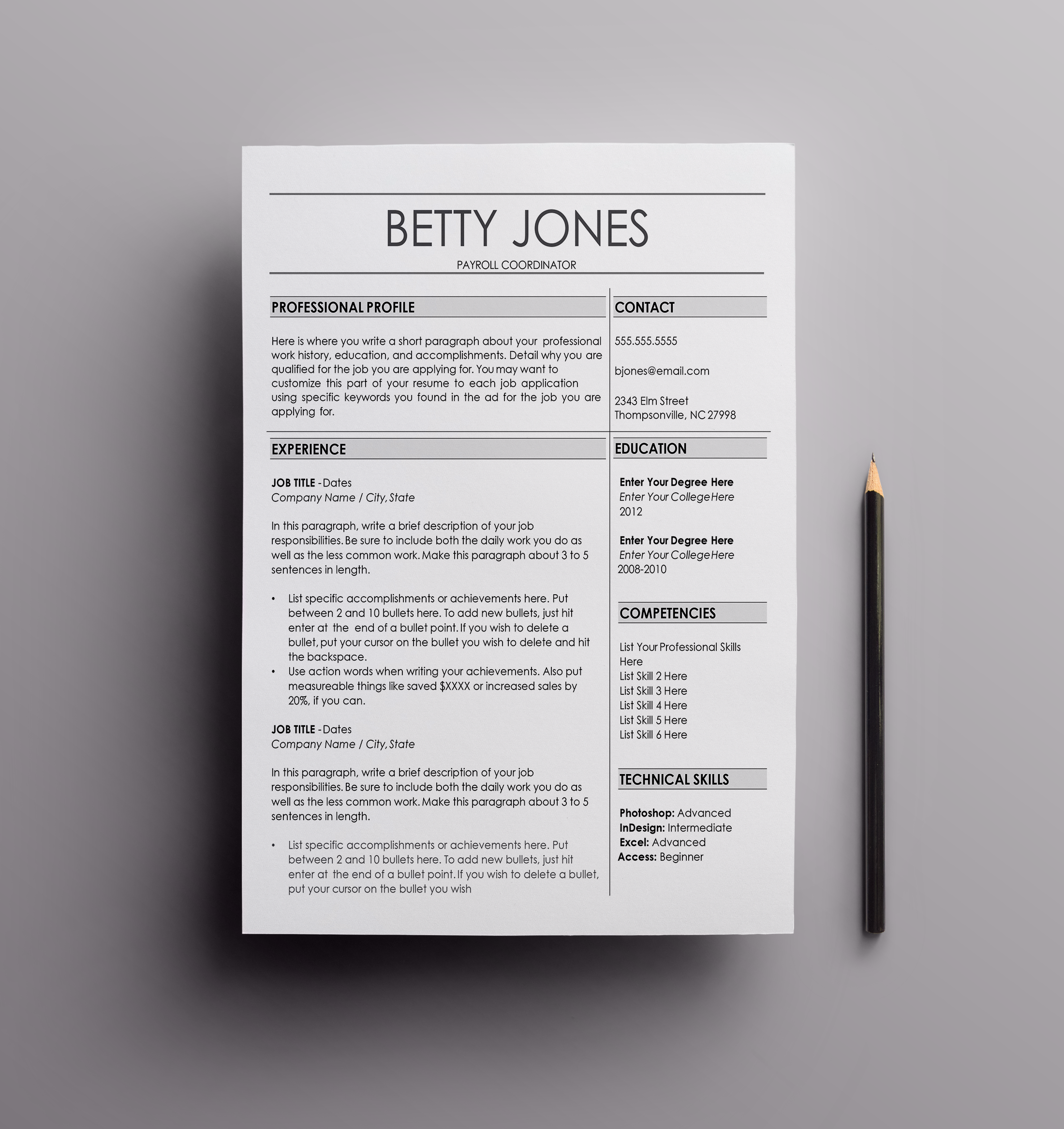 Resume Template   The Betty  resume design  cv template  curriculum     Resume Template   The Betty  resume design  cv template  curriculum vita  template