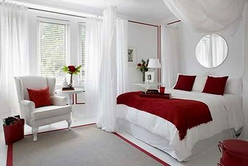 Love The White With Accents Of Red To Bad Is Too Bold For My Bedroom