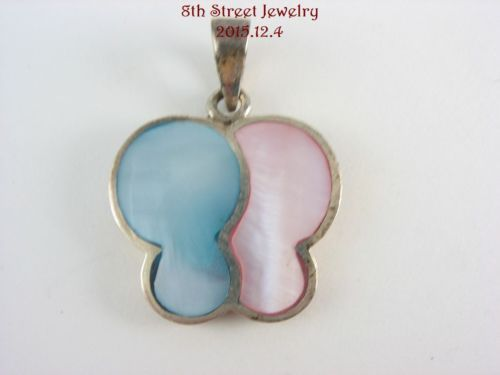 Estate-Sterling-Silver-925-Pink-Blue-Mother-of-Pearl-BUTTERFLY-Pendant-1-1-8-L