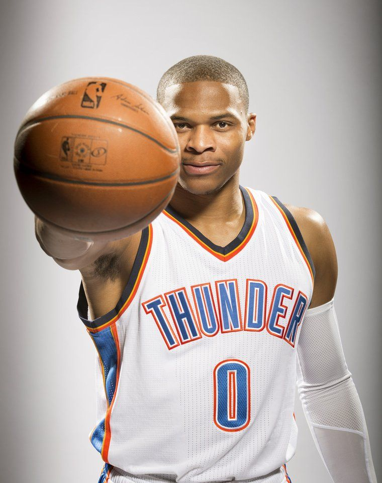 Oklahoma City Thunder's Russell Westbrook poses for photos during NBA  basketball media day at Chesapeake Energy
