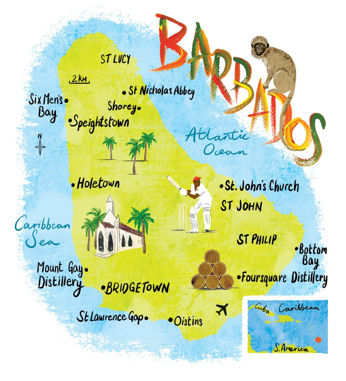 Barbados map by Scott Jessop. Cricket, rum and palm trees ...