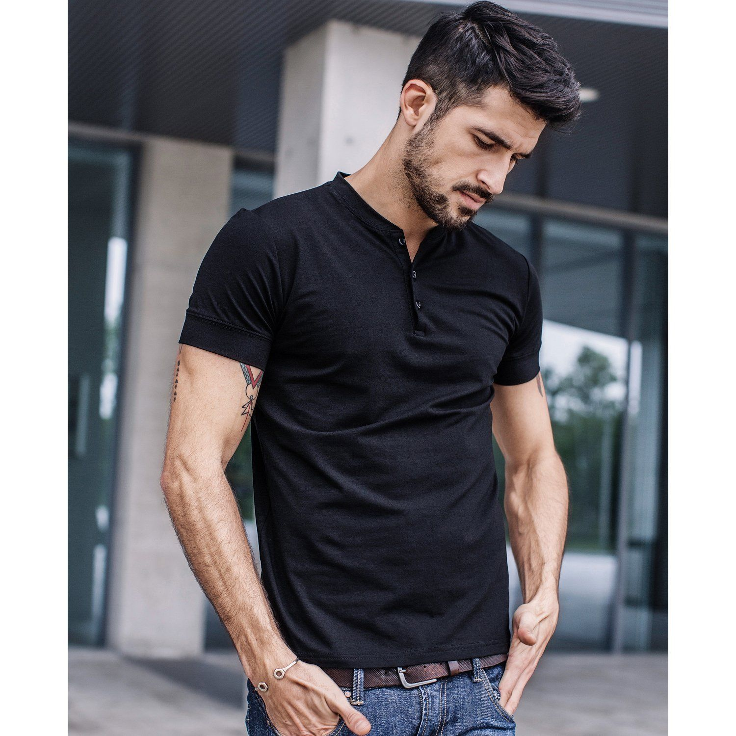 UK Men V Neck Short Sleeve Muscle Tee Shirts Slim Fit Casual Solid T-shirt Tops