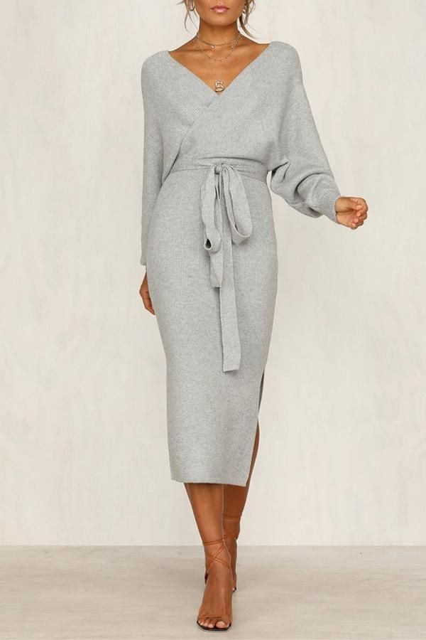 Photo of Zeewer V Neck Backless Sweater Dress(5 Colors Extra Offer)