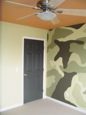 Painted Black White Camouflage Wall Mural