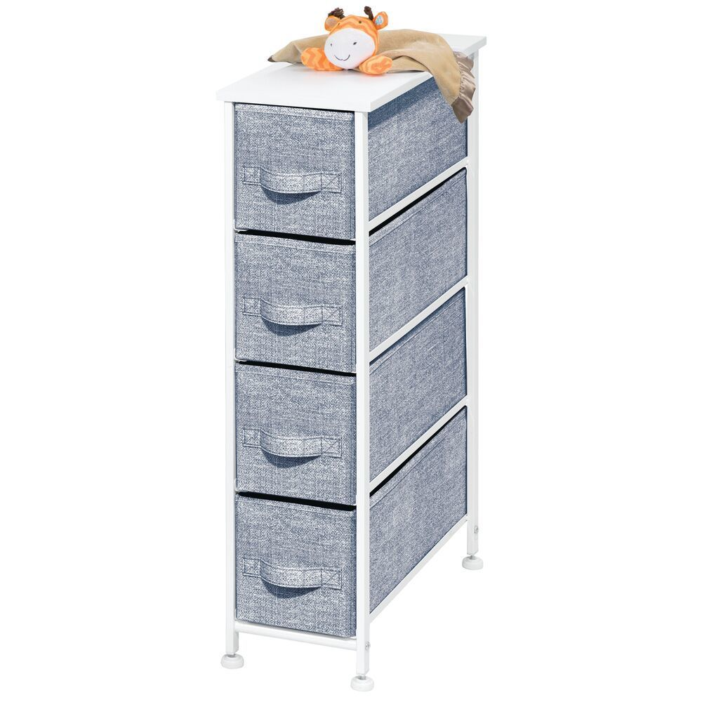 4 Drawer Narrow Dresser Cabinet for Baby + Kids Storage in Pink/White Polka Dot, 19″ x 8″ x 29.7″, by mDesign