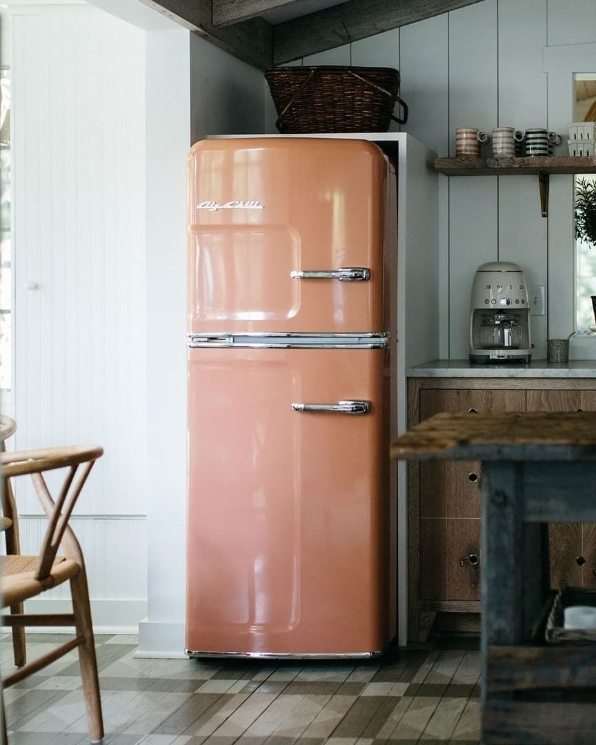 Big Chill On Instagram Ultimate Fridgegoals Big Chill Slim Fridge In Beige Red Ral 3012 At The Leo Co Big Chill Appliances Big Chill Kitchen Remodel