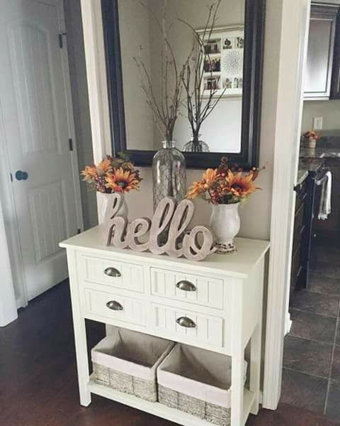 Cute Fall Decor For An Entry Way Table Or Mantel Inspiration. White  Beadboard Console Table In Kitchen