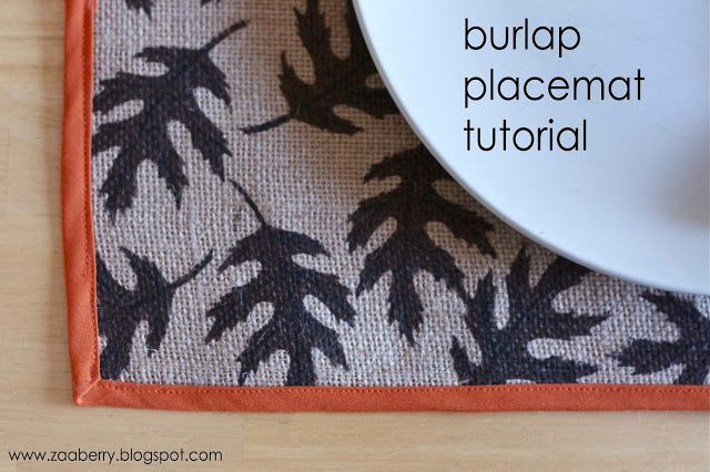 Zaaberry: Burlap Placemat Tutorial - possibly add some non slip to ...