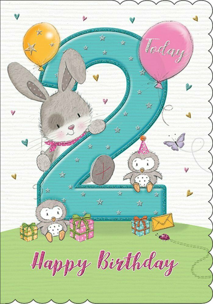 Happy 2nd Birthday Card Year 2 Birthday card Happy Second Birthday Second year Printable 2nd birthday card Instant download