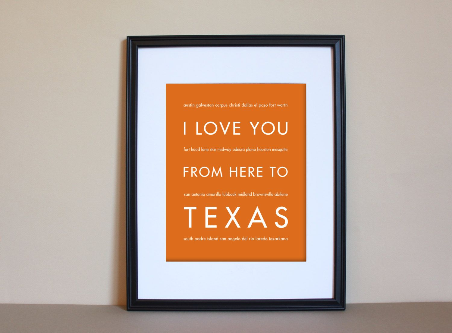 Texas Art Print I Love You From Here To TEXAS on Etsy 15.00