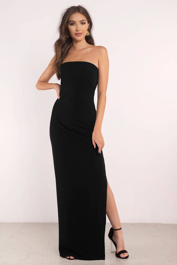 f2e21d2f5da8 Look regal in the Josephine Strapless Maxi Dress. Featuring a strapless  neckline and high slit. Wear with ankle strapped heels and eye catching  earrin ...