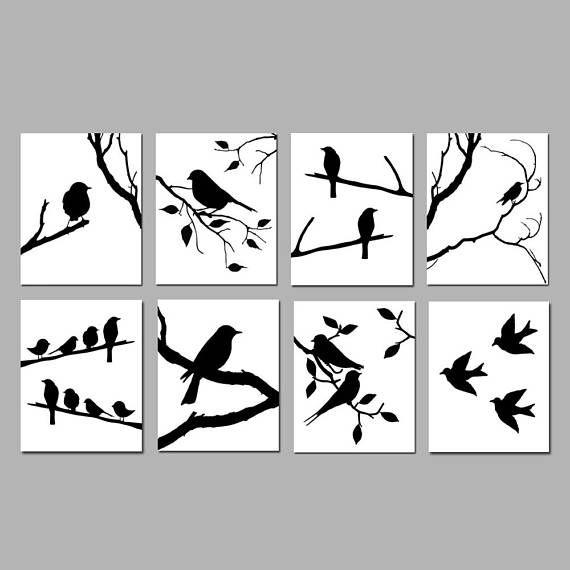 Bird Wall Art Bird Decor Black And White Art Set Of 8 Bird Etsy Bird Prints Black And White Birds Feather Wall Art