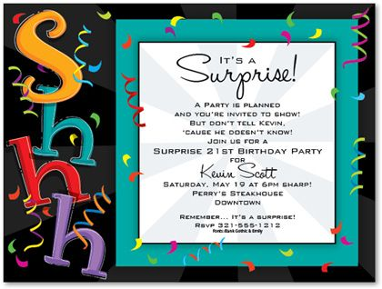 Kids birthday invitations girls boys boys girls sweet 16 its a surprise this flat white surprise party invitation features a black background with colorful confetti flying throughout filmwisefo Image collections
