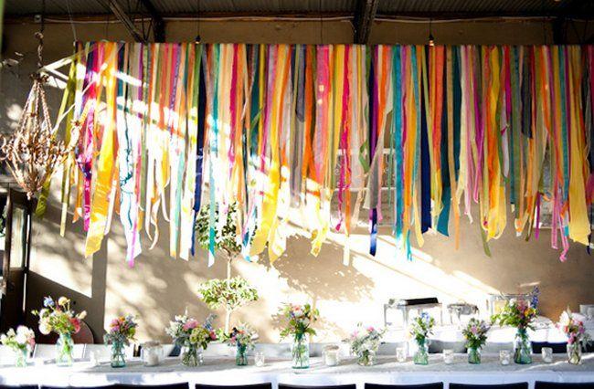 21 Diy Outdoor Hanging Decor Ideas Rainbow Wedding Ribbon Decorations Ribbon Garland