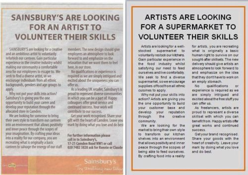Artists respond to Sainsburys request for free work