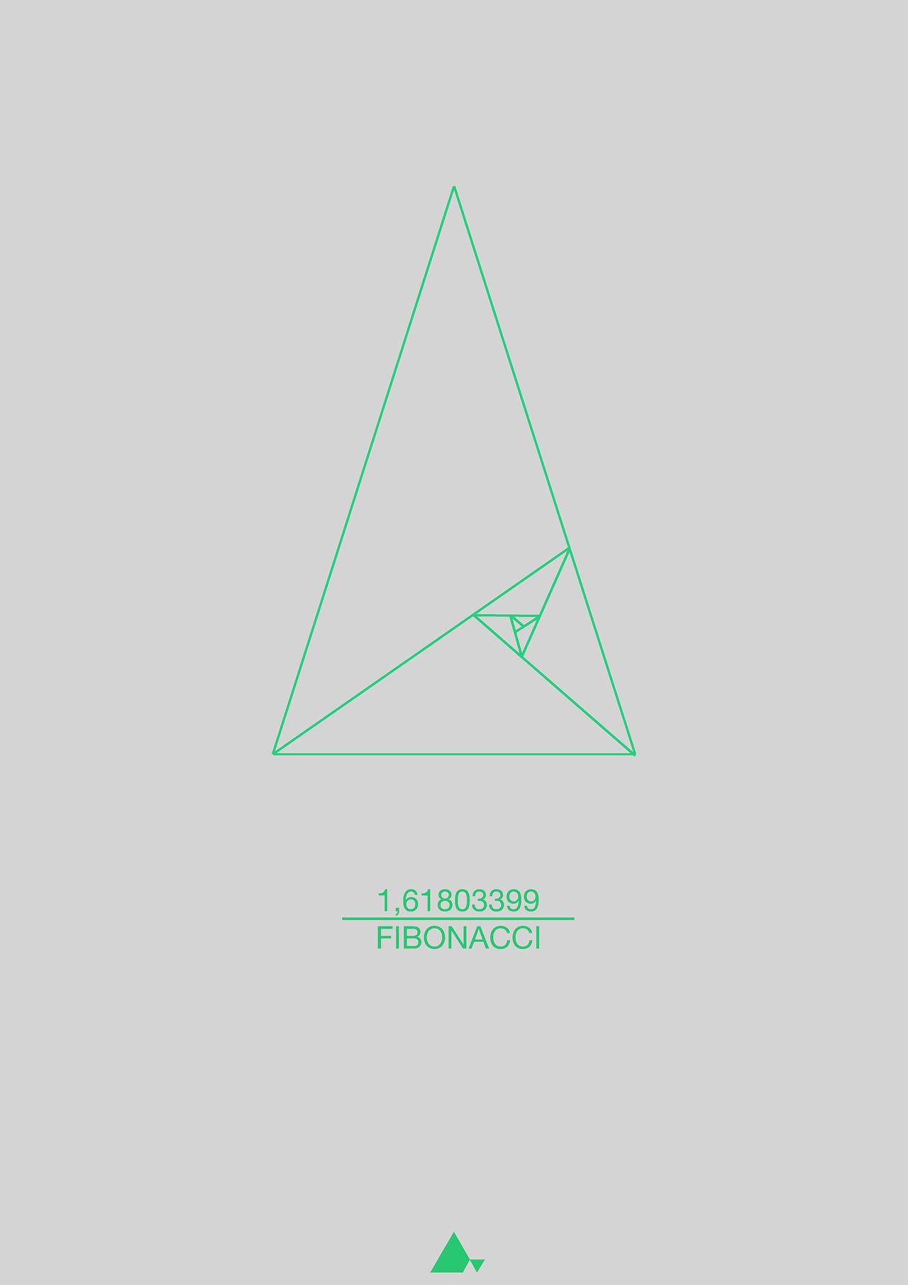 fibonacci sequence triangle print 60x80 cm fibonacci italian mathematician of the 12th. Black Bedroom Furniture Sets. Home Design Ideas