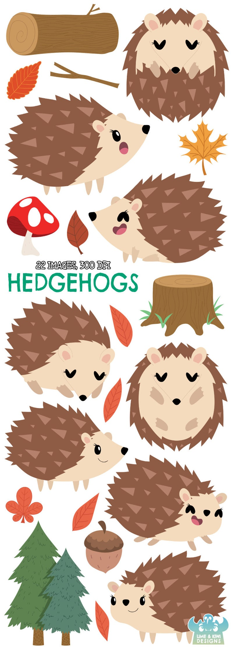 Hedgehogs Clipart, Instant Download Vector Art, Commercial