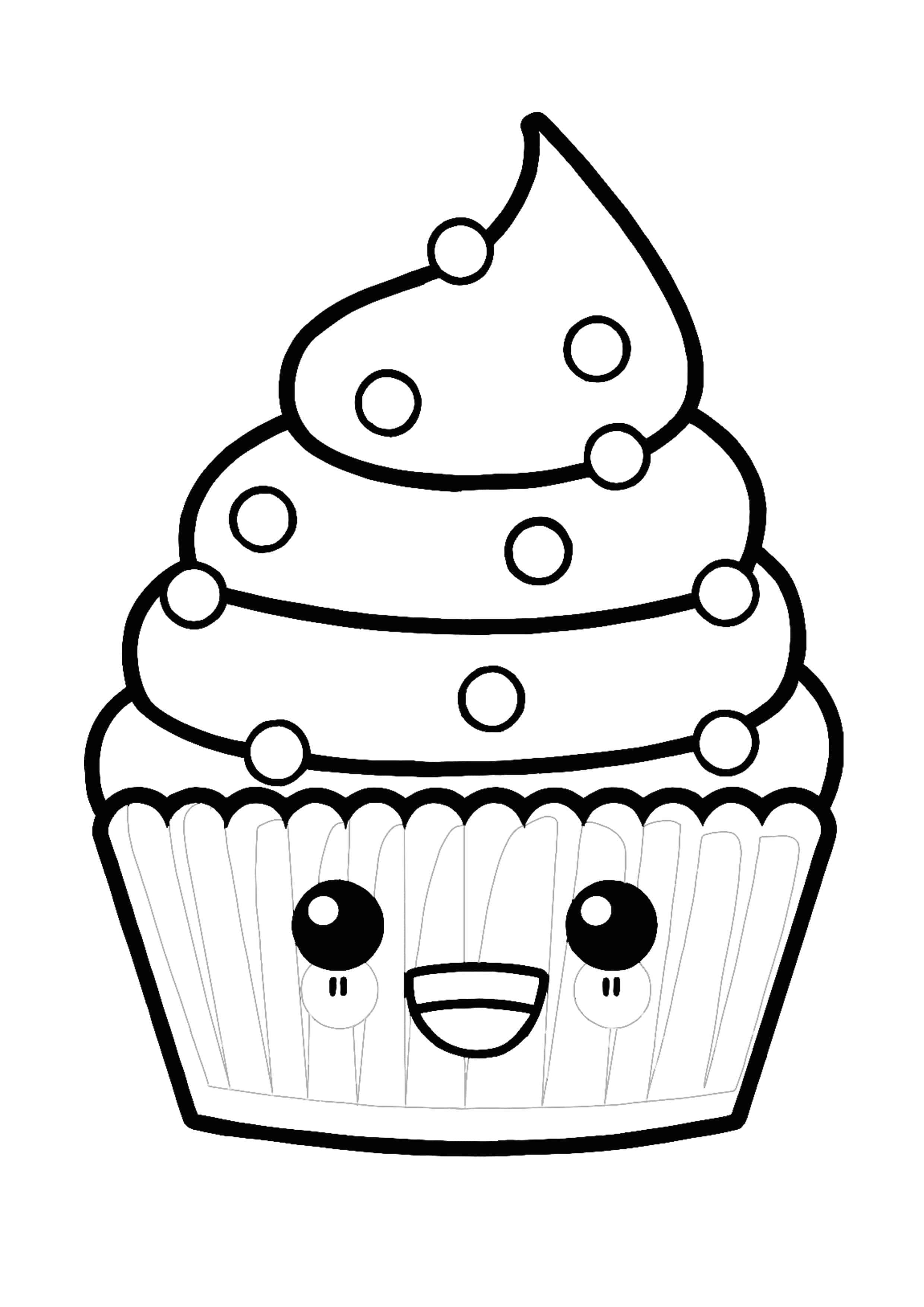 Kawaii Delicious Cupcake Coloring Page In 2020 Cupcake Coloring Pages Coloring Pages Donut Coloring Page