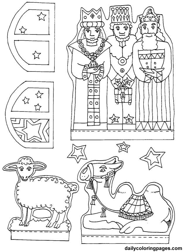 Moving Kings Throughout These Twelve Days Also Nativity Diorama Christmas Coloring Pages