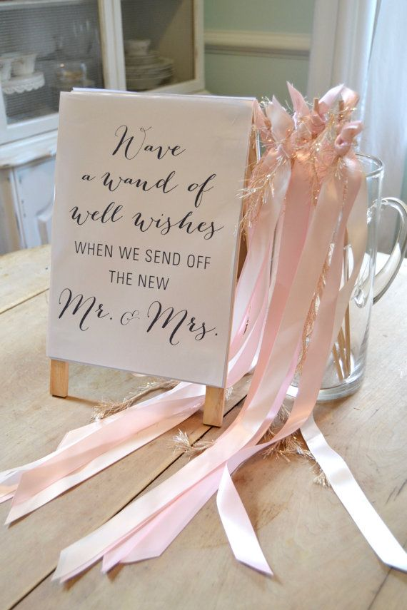 Ribbon Wand Wedding Send Off Sign By Suiteliketee On Etsy Mias