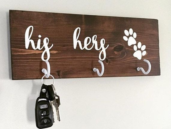 His Her Puppy Key/Leash Holder His Her and Dog Wooden Sign