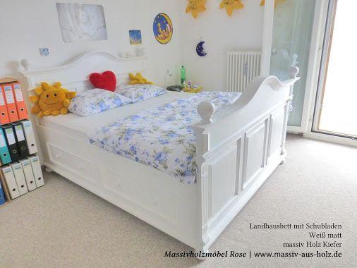 Für unsere liebe Kundin aus der #Schweiz ist das #Landhaus - #Bett - Schlafzimmer Landhausstil Weiß