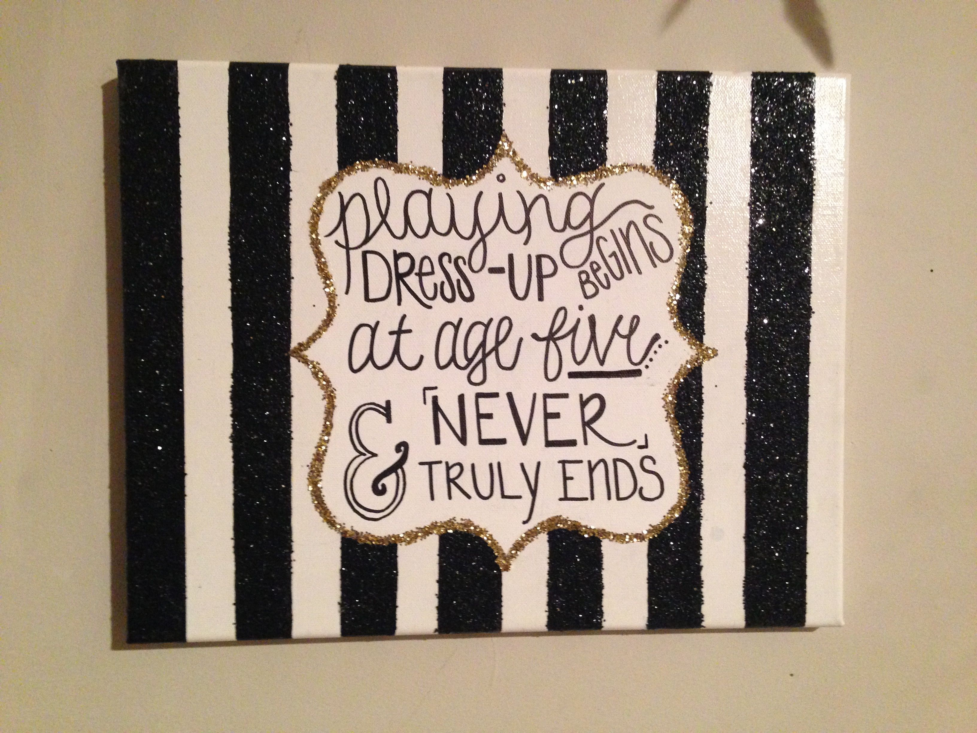 Kate Spade Inspired Designer Canvas Made With Glitter And Quote,