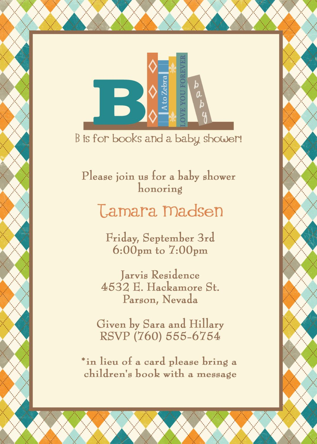 Book Baby Shower Invite, in lieu of a card please bring a children\'s ...