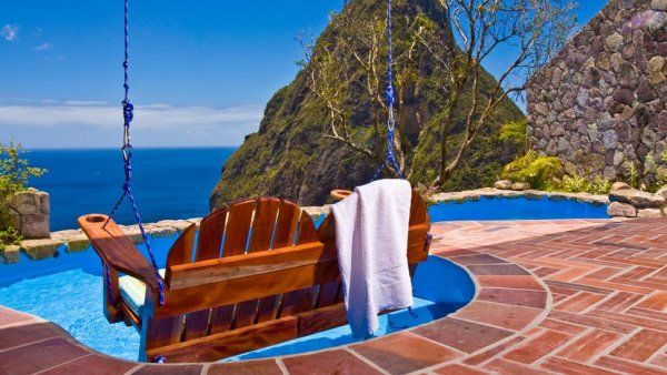 Ladera Hotel, Caribbean #amazing    Hotel is located in one of Saint Lucia, Forbes - the world's top ten unique luxury hotel. Mountains each room has an open wall in the middle of the Peak, front of the sea.