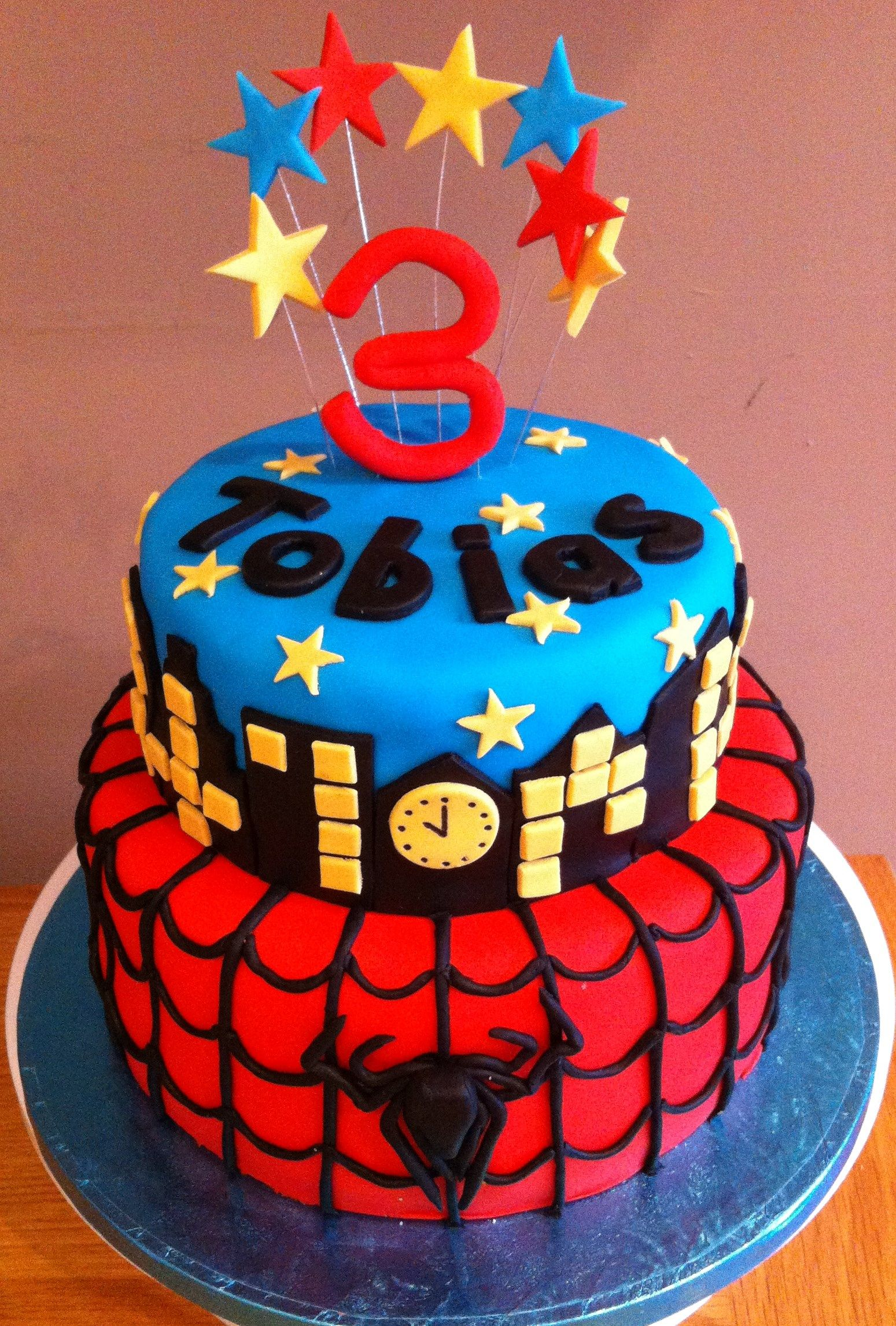 Birthday Cake Ideas Spiderman : 2 tier Spiderman cake...... Birthday Cakes Pinterest ...