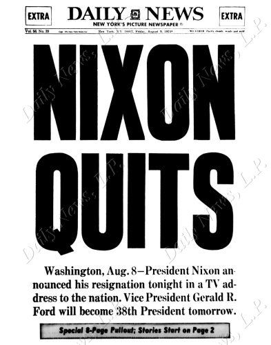 Image result for NIXONquits headlines