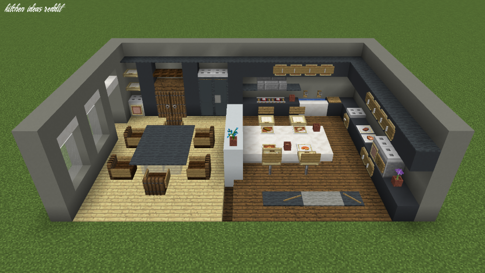 Modern Kitchen Design Minecraft Di 2020 Rumah Minecraft Bangunan Minecraft Bangunan