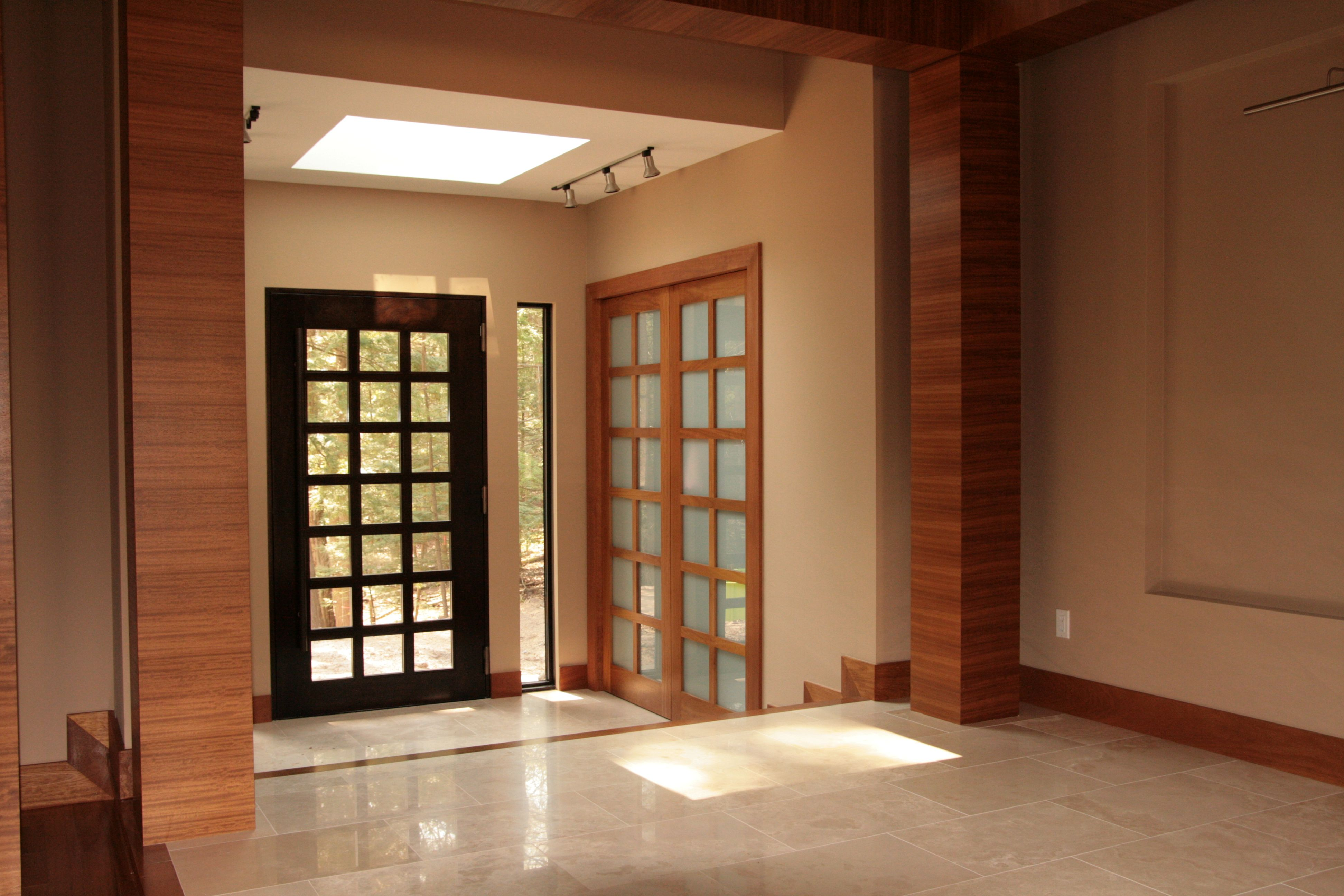 Great In This Photo This Spectacular Modern Home Features Amberwood Doors  The Mahogany Entry Door Has Clear Glass While The Iroko Interior Double  Door Has ...
