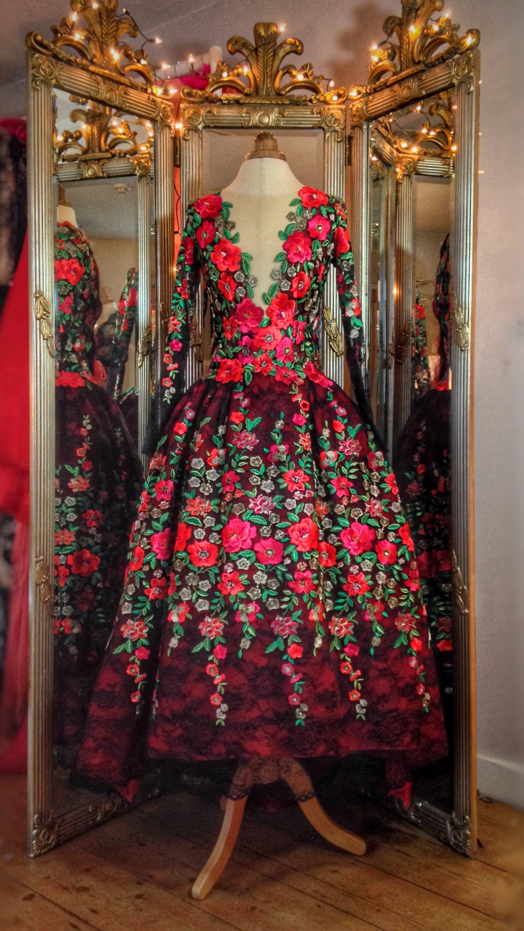 Kahlo...vibrant scarlet, fuschia pink, emerald, black embroidered ...