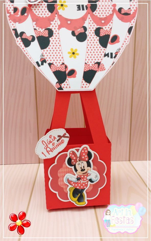 Caixa balão Minnie Vermelha!!!  Ideal como centro de mesa e decorar a sua festa!  Altura 27 cm  Largura caixa 7 cm  Largura do Balão 14 cm    Fazemos todos os temas, consulte-nos