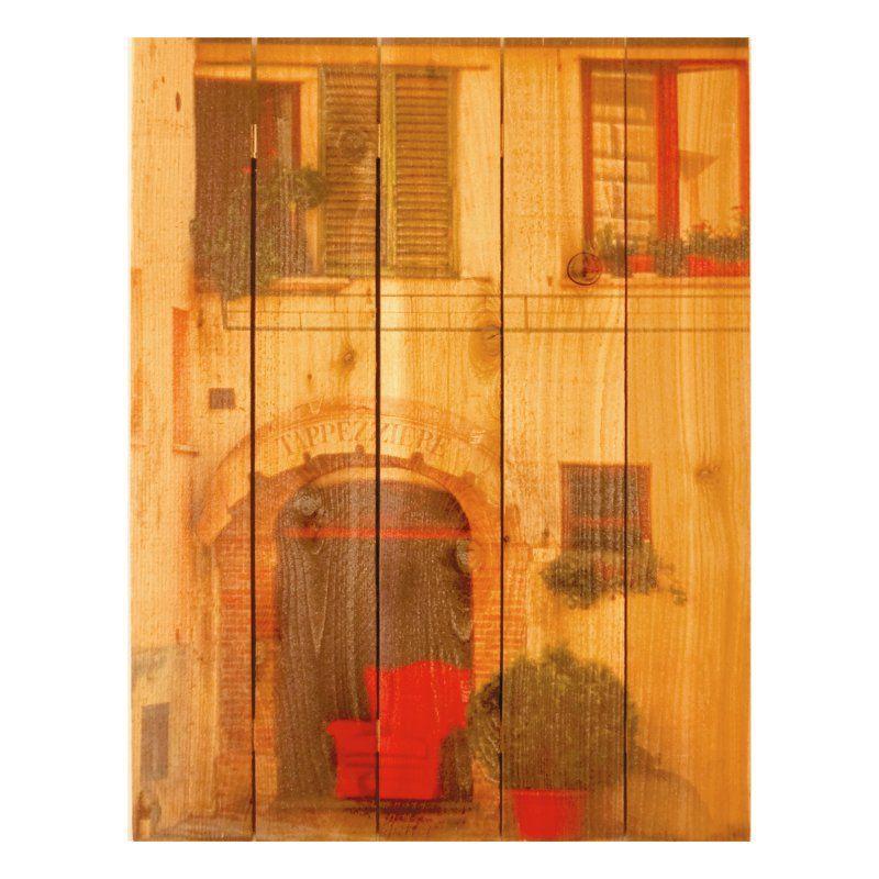 Gizaun Art Red Chair Indoor/Outdoor Full Color Cedar Wall Art - RC1624