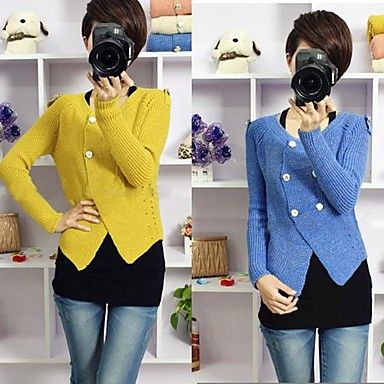 New Long Sleeve Double-Breasted Cardigan Sweater Coat