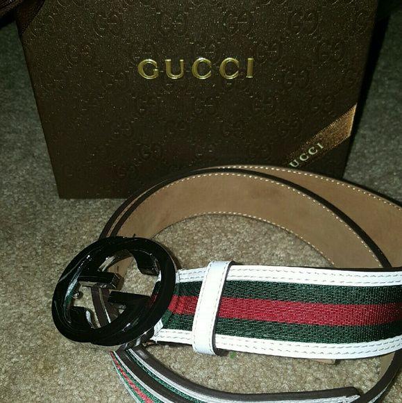 81a039dd30f Gucci White Trim w Green   Red Stripe Belt 100 cm New White Gucci Belt