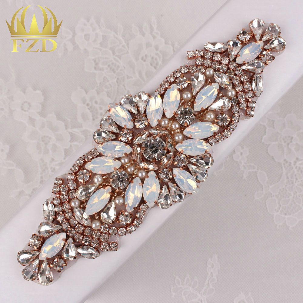 Aliexpress.com   Buy (30pieces) Wholesale Handmade Hot Fix Rose Gold  Rhinestones Applique Iron Sew On Bling Applique for Headpieces Dresses  Garters from ... 555a694045eb