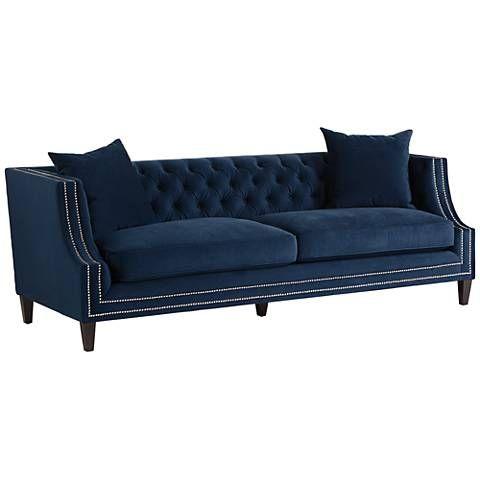 Marilyn Blue Velvet Tufted Upholstered Sofa Blue Velvet