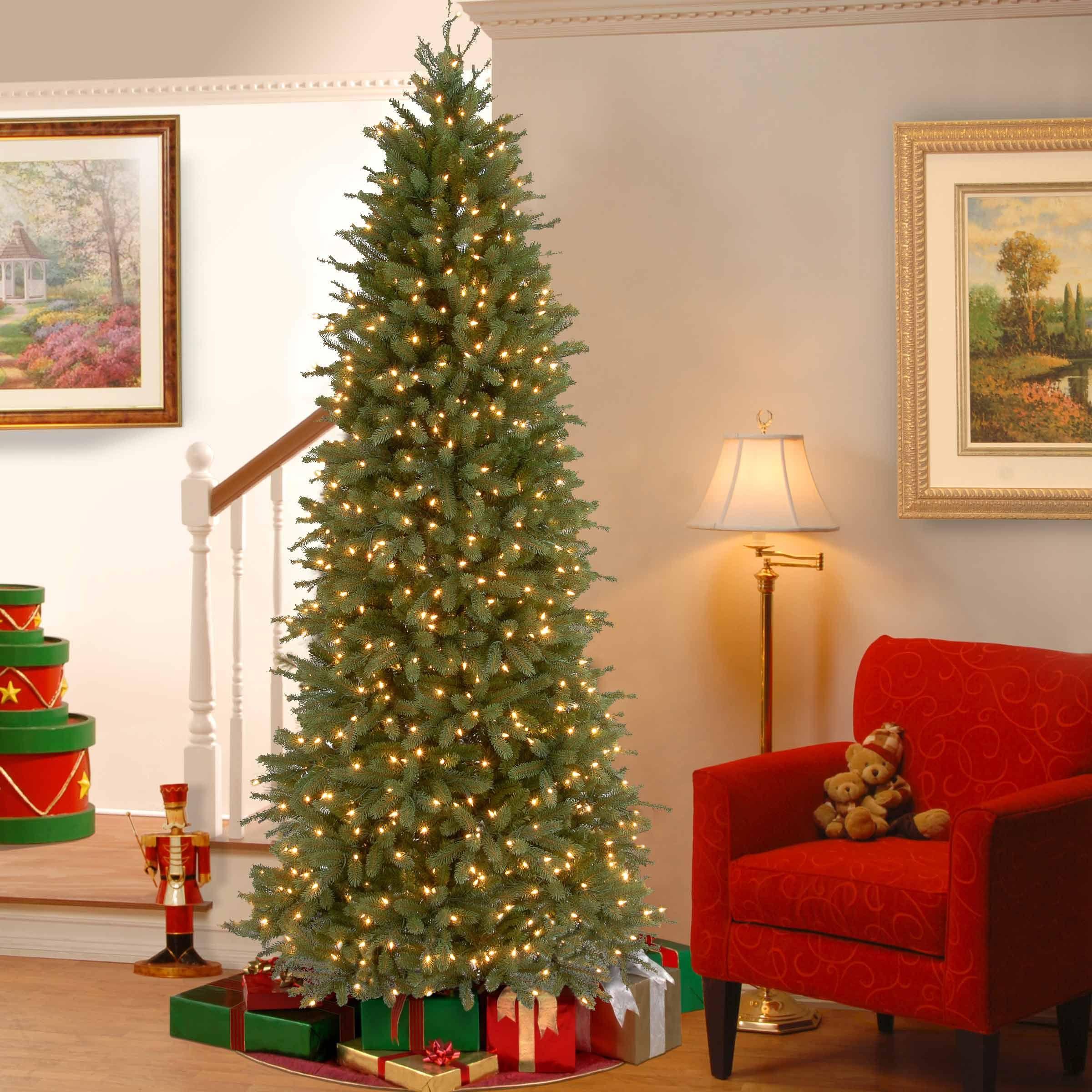 Tom 7 5ft Fir Slim Christmas Tree Real Feel Pre Lit With 650 Clear Lights Slim Christmas Tree White Christmas Trees Green Christmas Tree