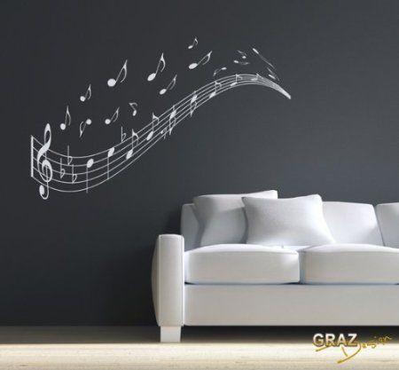 Wandtattoo Wandaufkleber Musik Noten Zeile Schlüssel Wandgestaltung