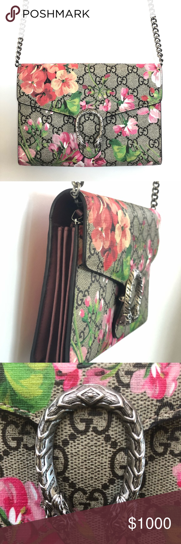 9ea0f88a975 Gucci Dionysus blooms print mini chain bag Great condition like new an  authentic GUCCI GG Supreme