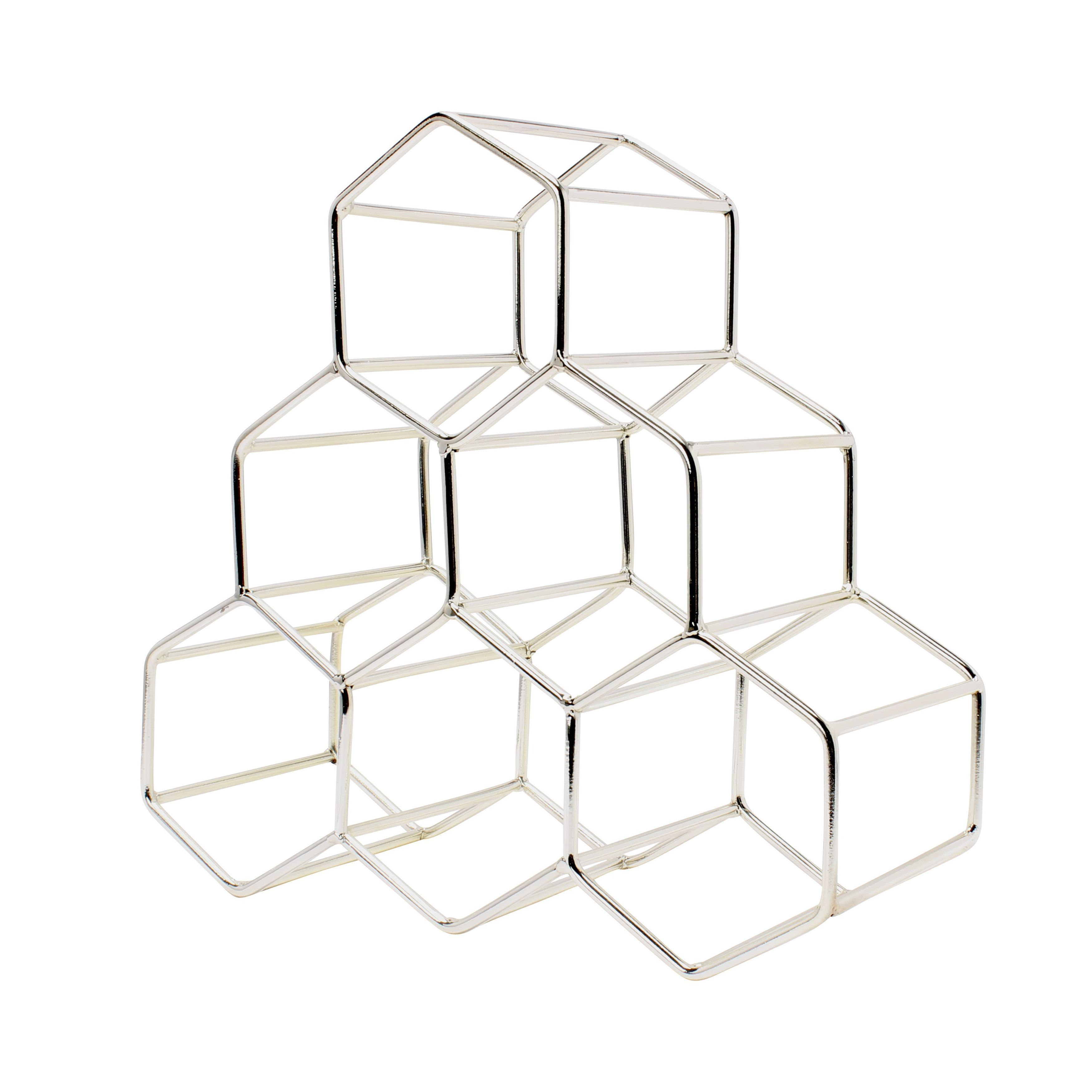 metal geometric countertop wine rack by kate and laurel (silver  - metal geometric countertop wine rack by kate and laurel (silver)