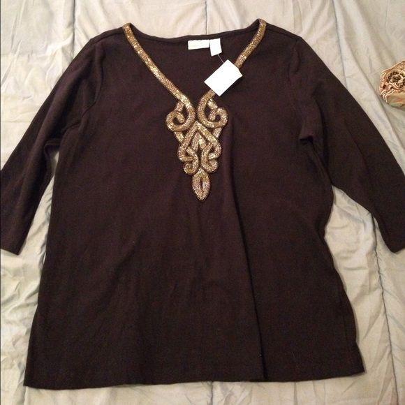 Soft Sorroundings purple top A beautiful shirt, quarter sleeves, beautiful beading! Soft Sorroundings Tops Blouses
