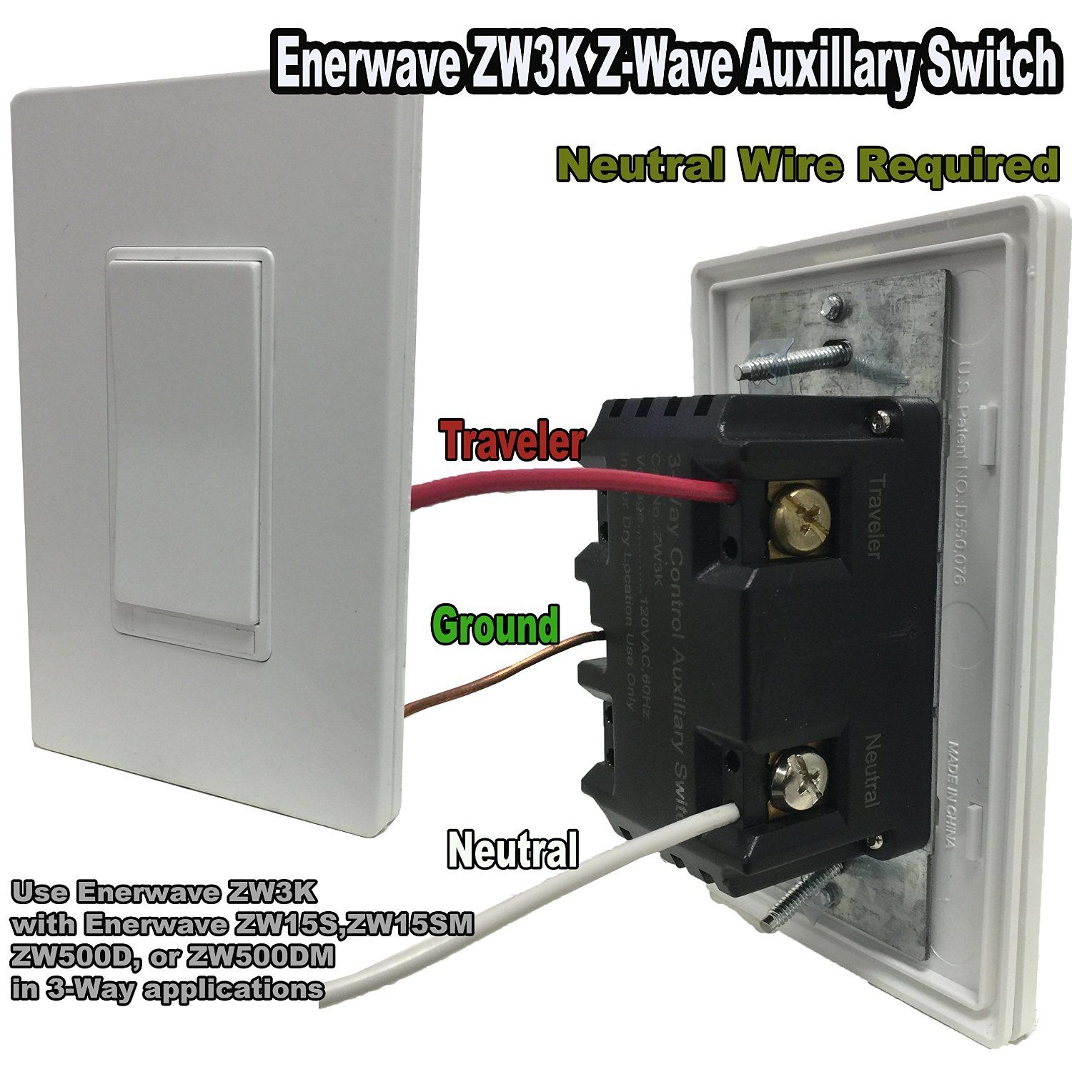 enerwave zw3k-w 3 way z wave auxillary switch addon, wiress home automation  control device 3 way control auxillary switch 120vac 60hz, white - -  amazon com
